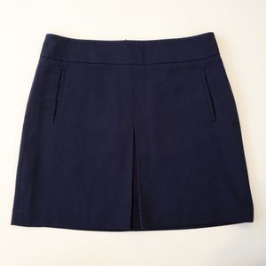LOFT Box Pleat Front Skirt with Pockets in Navy